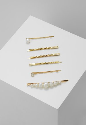 HAIR ACCESSORY 6 PACK - Hair Styling Accessory - gold-coloured/weiß