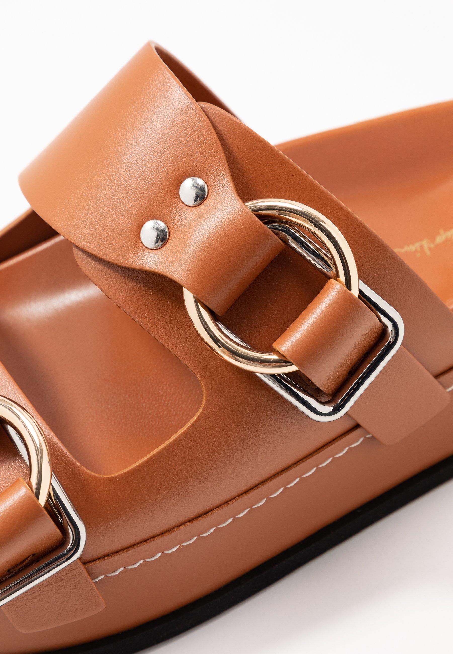 3.1 Phillip Lim Freida Platform Double Buckle Slide - Sandalias Planas Cognac