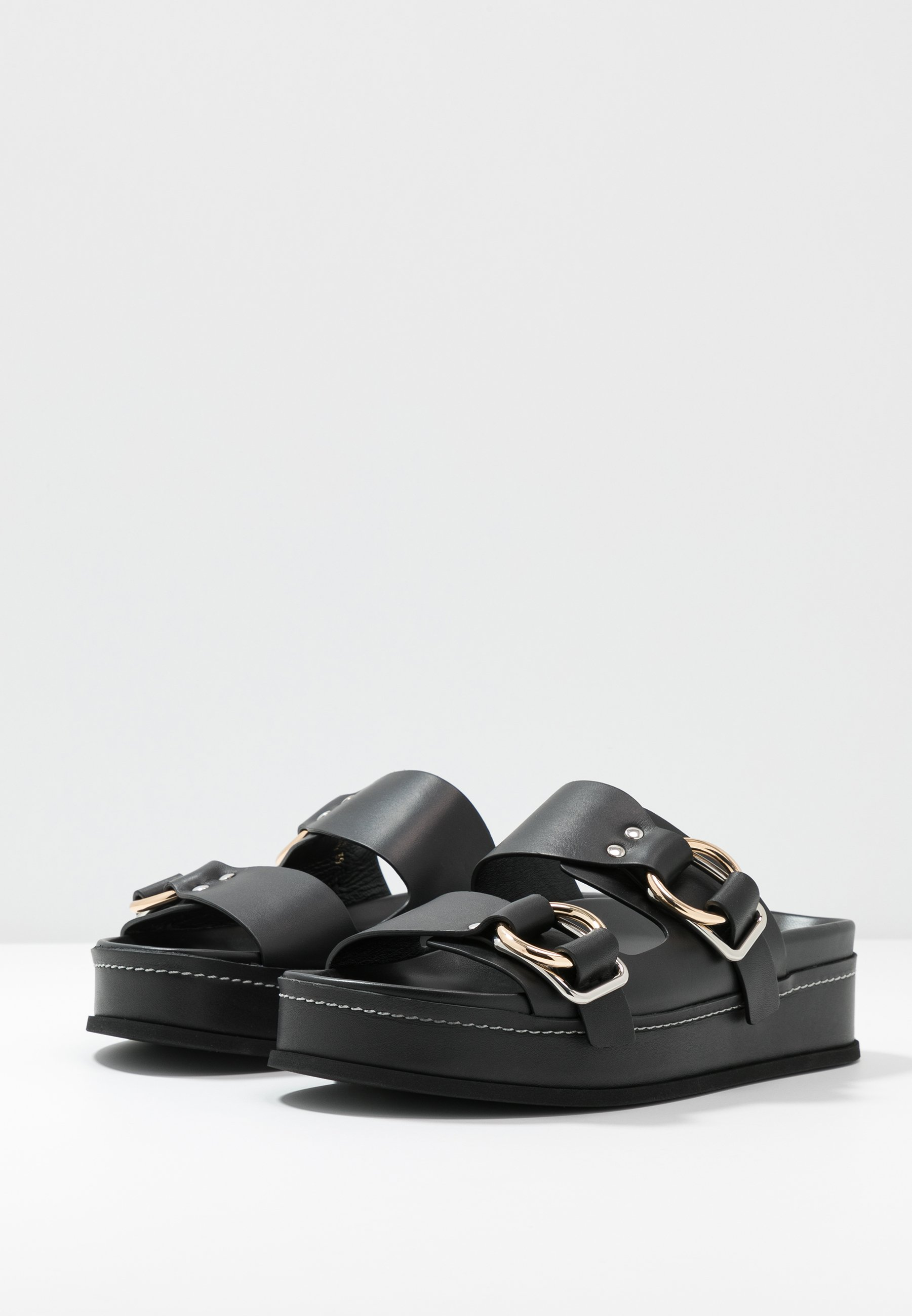 3.1 Phillip Lim Freida Platform Double Buckle Slide - Slip-ins Black