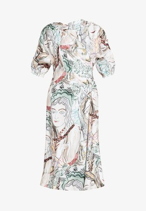 PRINTED ASYMMETRICAL WRAP DRESS - Cocktailkjoler / festkjoler - white/multi