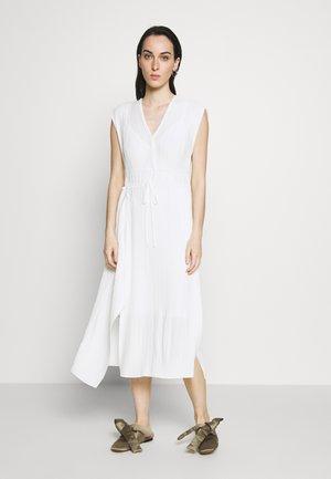 VNECK MUSHROOM PLEATED DRESS - Day dress - white