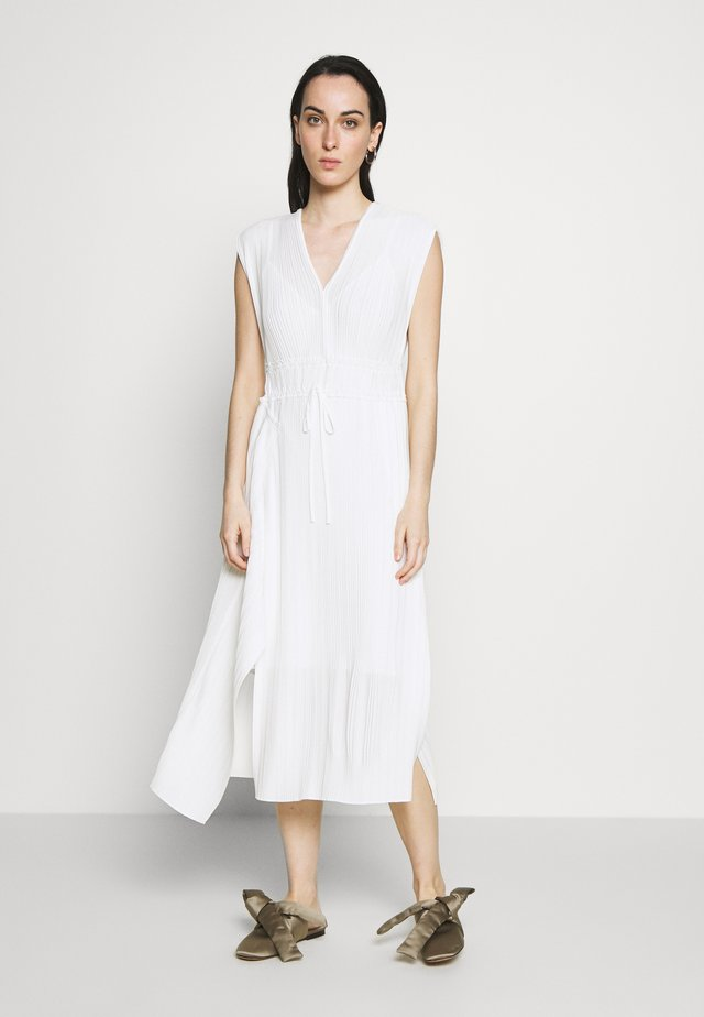 VNECK MUSHROOM PLEATED DRESS - Sukienka letnia - white