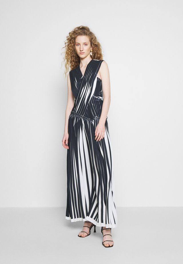 KNIFE PLEATED CROSSOVER DRESS - Maxi-jurk - black/white