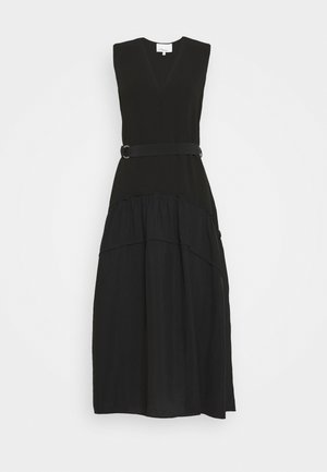 V NECK TANK DRESS SHIRRED SKIRT - Vestito estivo - black