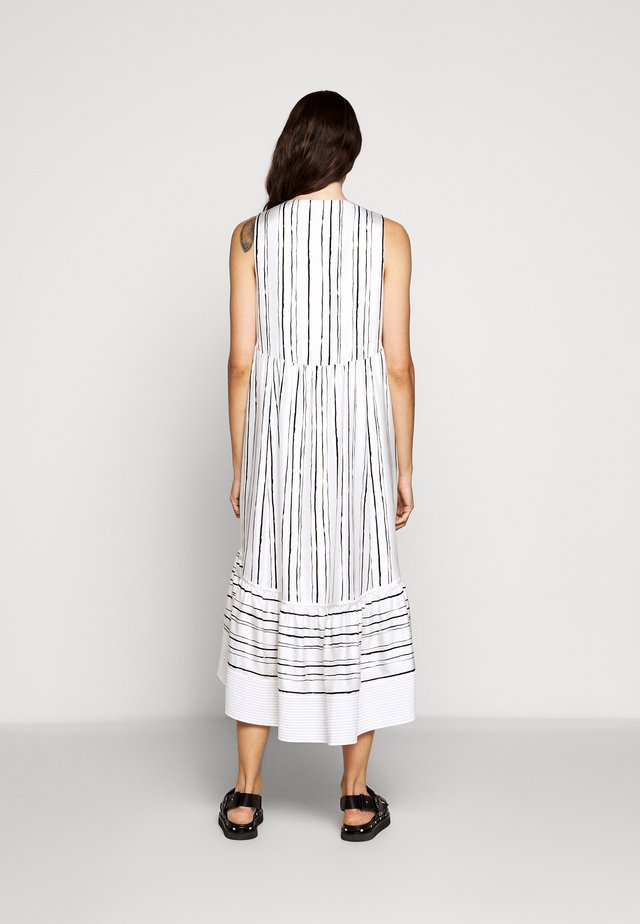 PAINTED STRIPE DRESS HIGH LOW HEM - Korte jurk - white