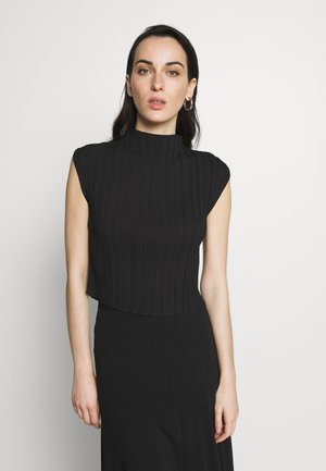 MUSHROOM PLEATED MOCK NECK TANK - Camicetta - black