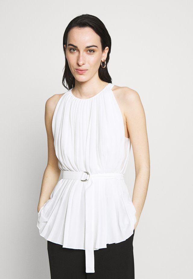 KNIFE PLEATED BELTED TANK - Bluser - white