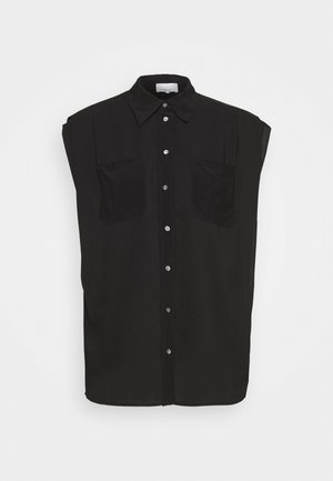 CAP SLEEVE BLOUSE - Button-down blouse - black