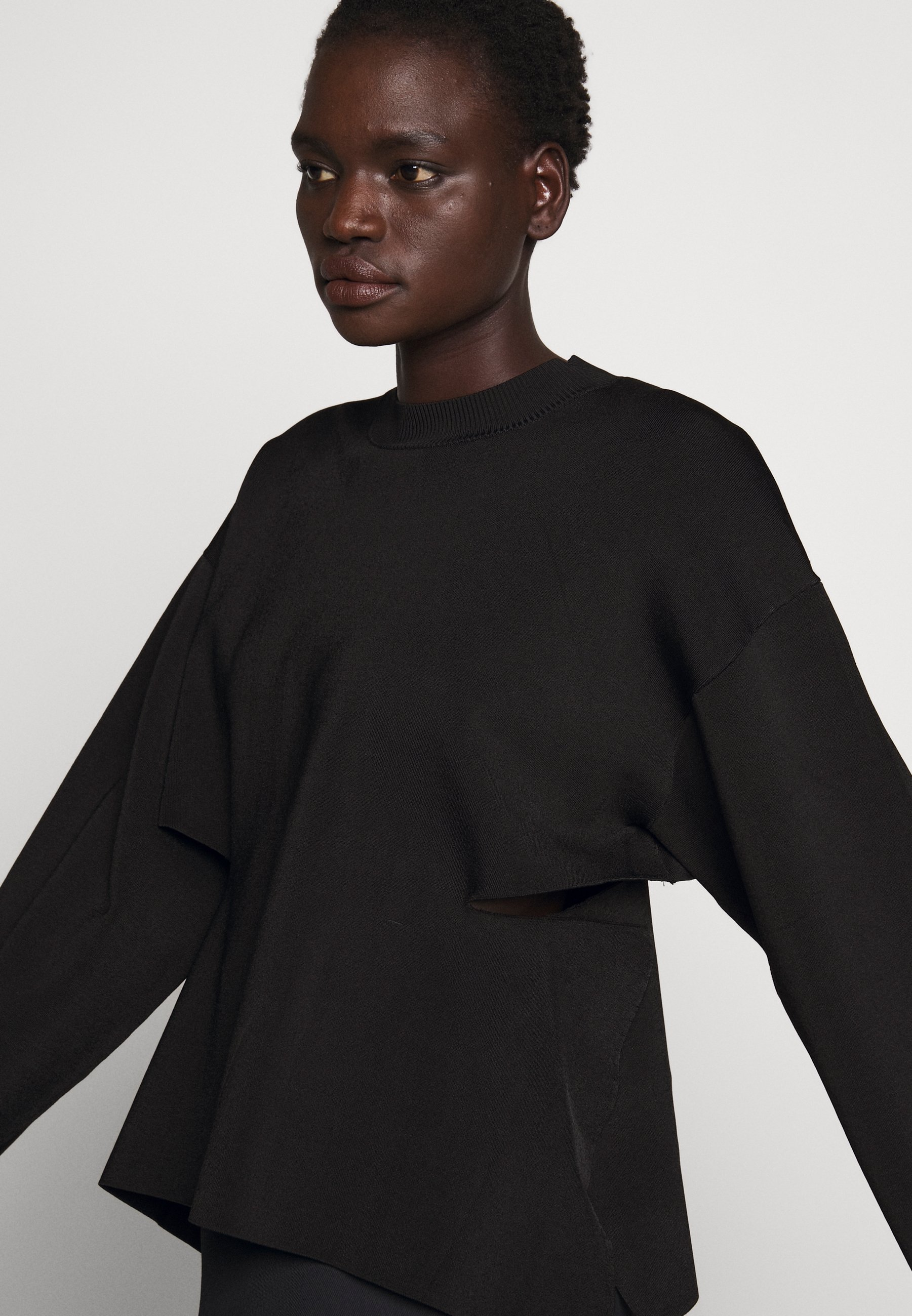 3.1 Phillip Lim Crew Neck Side Cutout - Pullover Black
