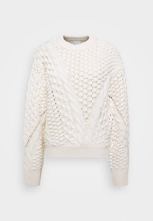CREW NECK CABLE - Pullover - white