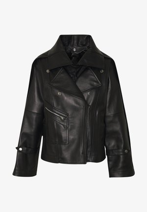 DETACHABLE COLLAR JACKET - Leather jacket - black