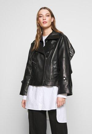 DETACHABLE COLLAR JACKET - Leren jas - black