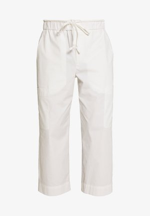 WASHED POPLIN CROPPED PANT - Pantaloni - offwhite