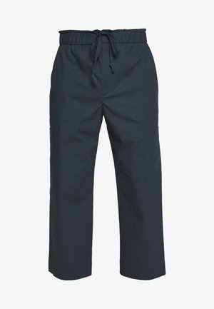 WASHED POPLIN CROPPED PANT - Trousers - marine