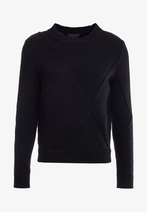 TEXTURED - Strickpullover - black