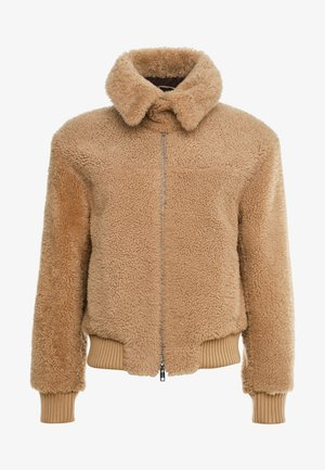 BOMBER JACKET - Leather jacket - natural