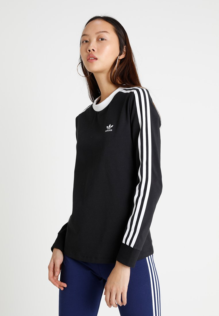 adidas Originals - ADICOLOR 3 STRIPES LONGSLEEVE TEE - T-shirt à manches longues - black