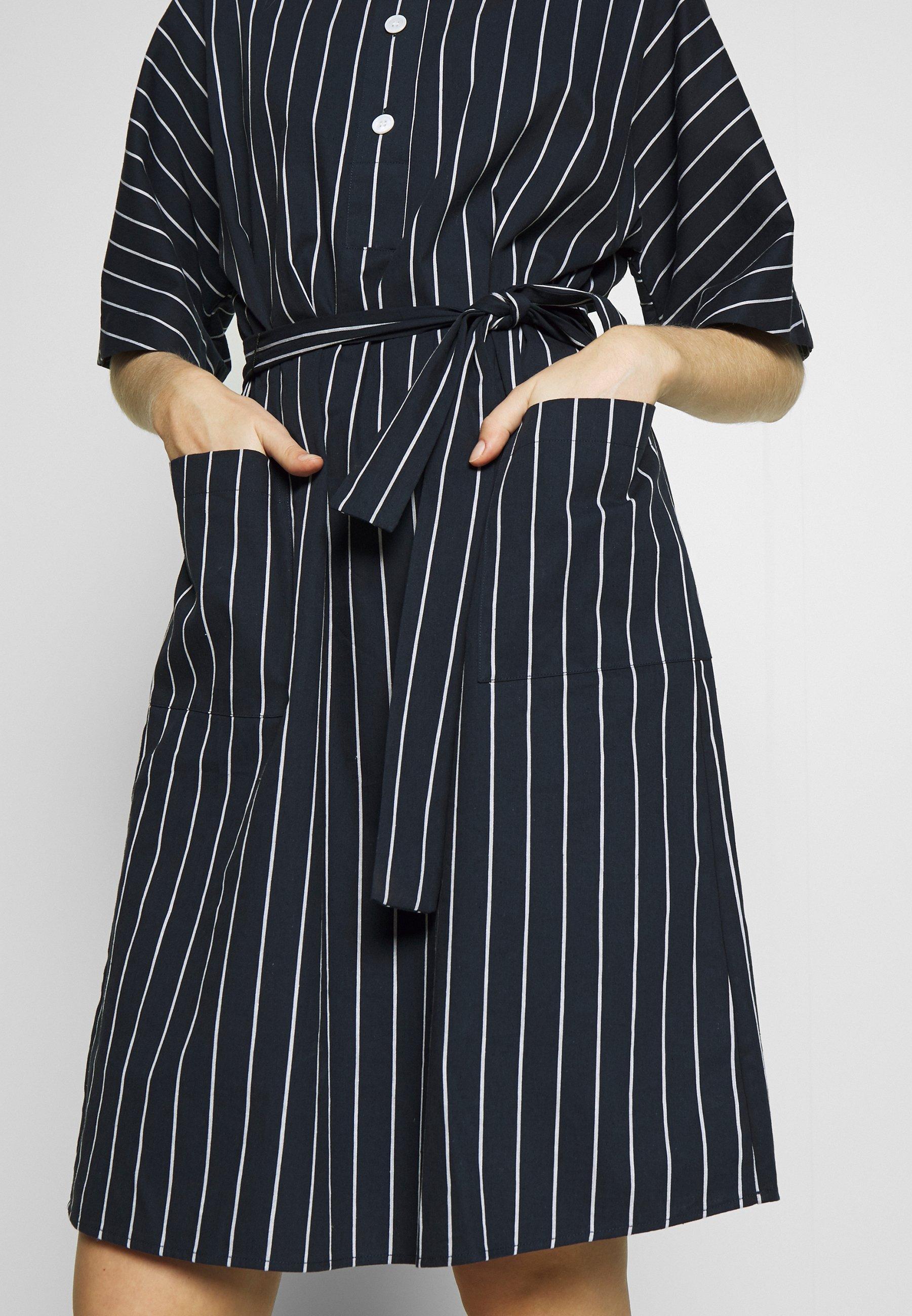 Seidensticker Midi - Skjortklänning Navy/white