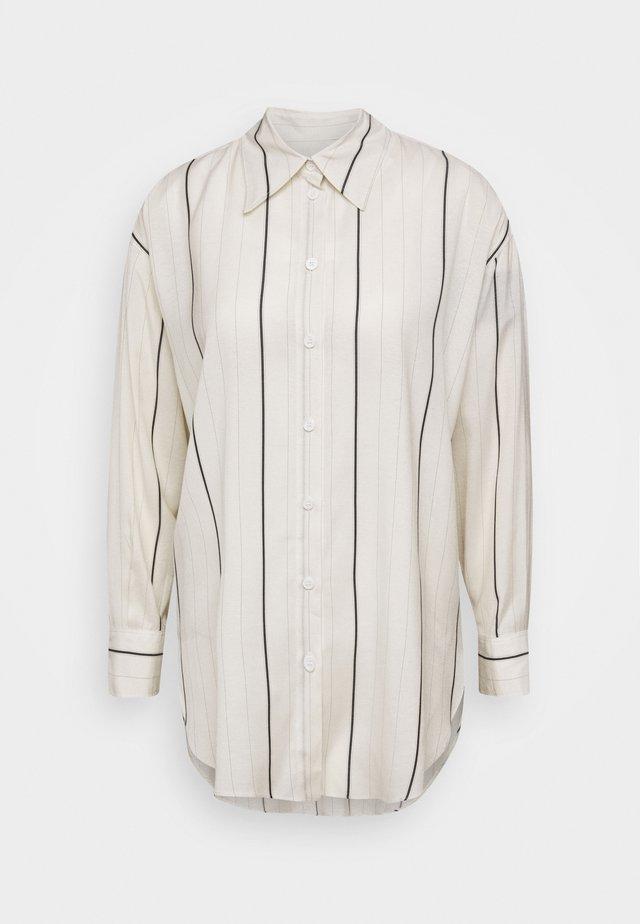 Button-down blouse - off-white/blue