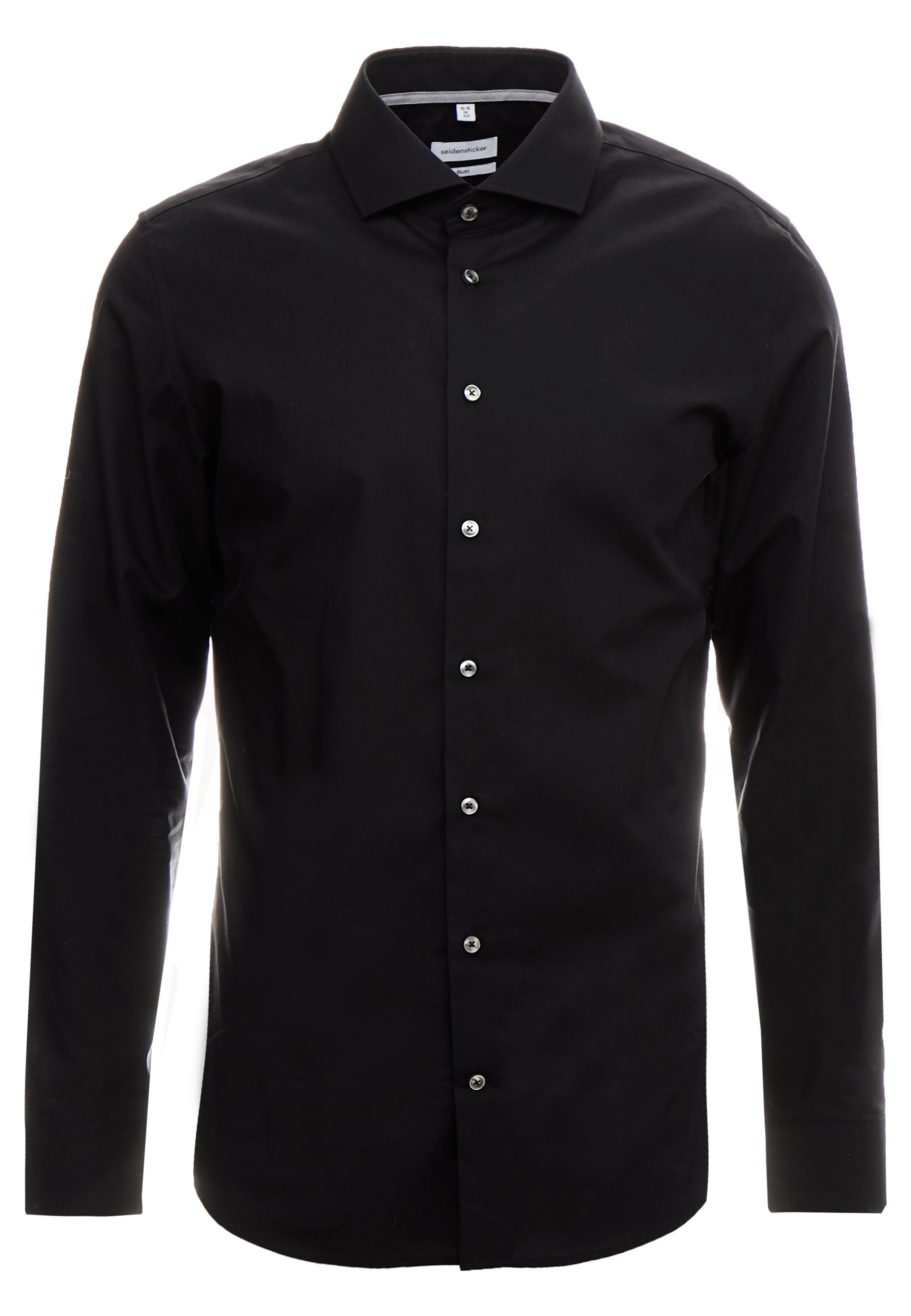 Seidensticker Slim Fit Spread Kent Patch - Camicia Elegante Black HjVIq