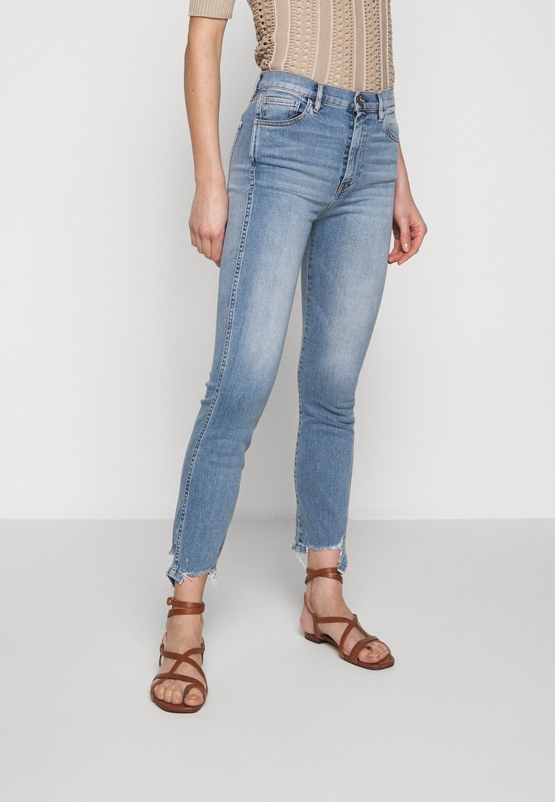 3x1 - AUTHENTIC CROP - Straight leg jeans - gina destroy