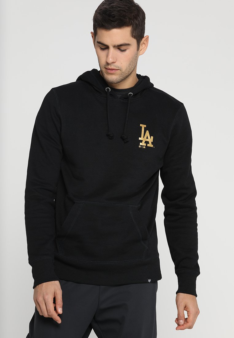 '47 - MLB LOS ANGELES DODGERS METALLIC HOOK HEADLINE HOOD - Sweat à capuche - jet black