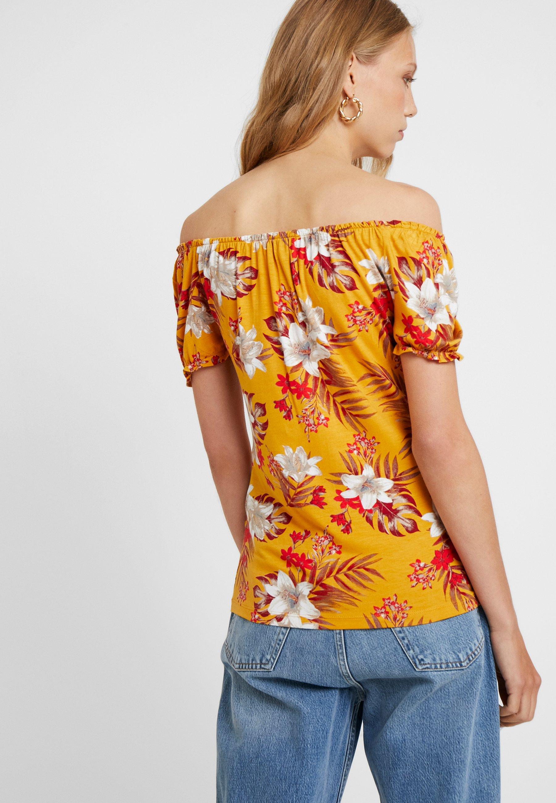 Dorothy Imprimé Button Perkins shirt Through Milkmaid TropicalT Ochre Tall Ybf7yg6