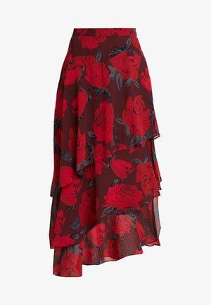 PRINTED SKIRT - Maxi sukně - black/red