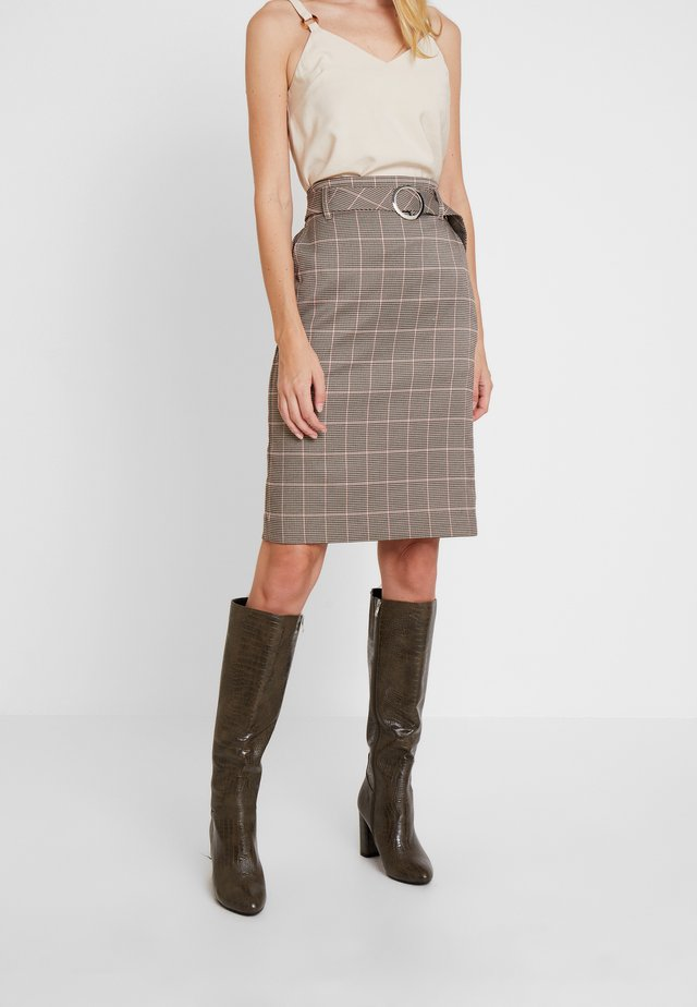 GLENCHECK SKIRT WITH BELT - Jupe crayon - taupe