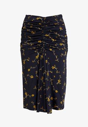 PRINTED SKIRT - Spódnica ołówkowa  - midnightblue/yellow