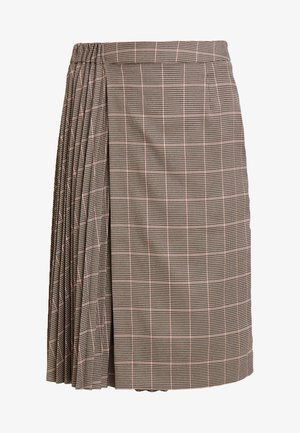 GLENCHECK PLISSEE SKIRT - Jupe trapèze - taupe/multicolor