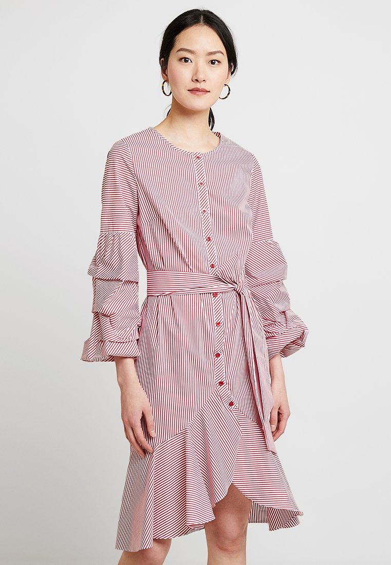 Apart - STRIPED DRESS - Shirt dress - red/cream