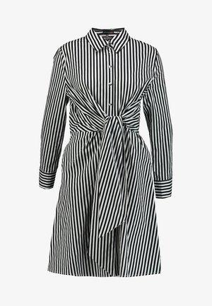 STRIPED DRESS - Košilové šaty - black/cream
