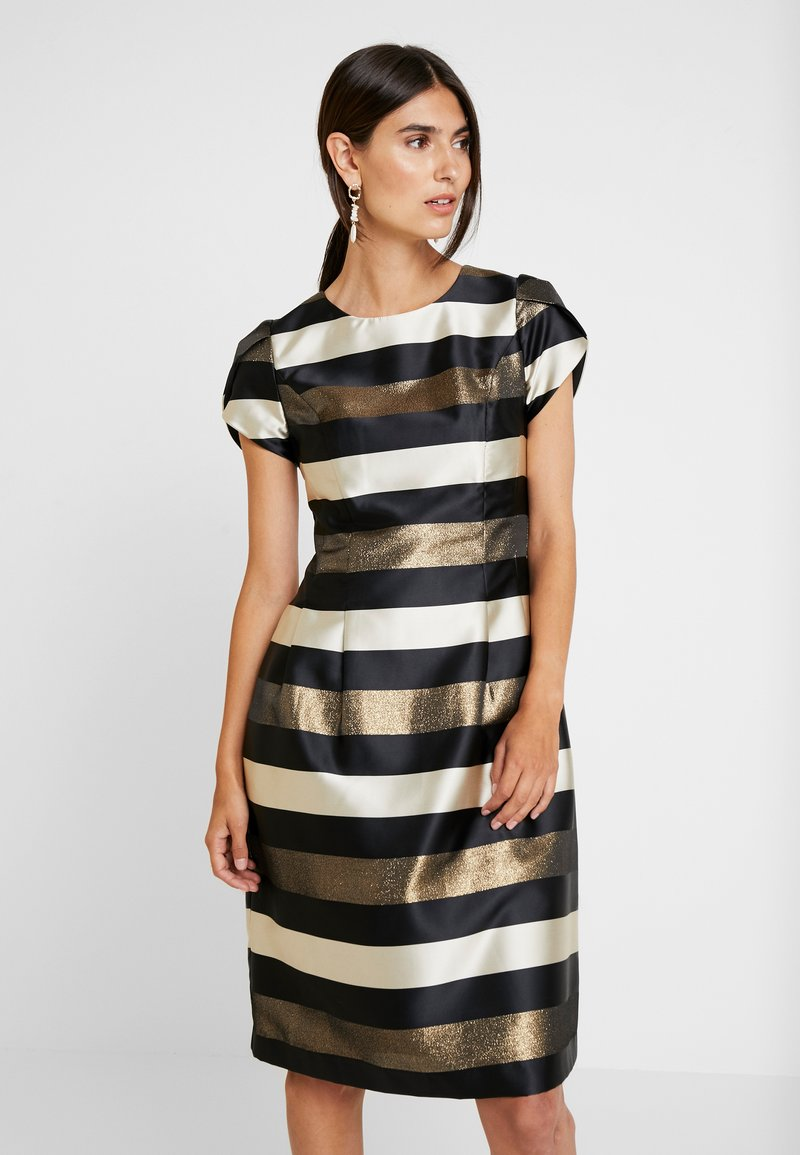Apart - STRIPED DRESS - Robe de soirée - black/gold/cream
