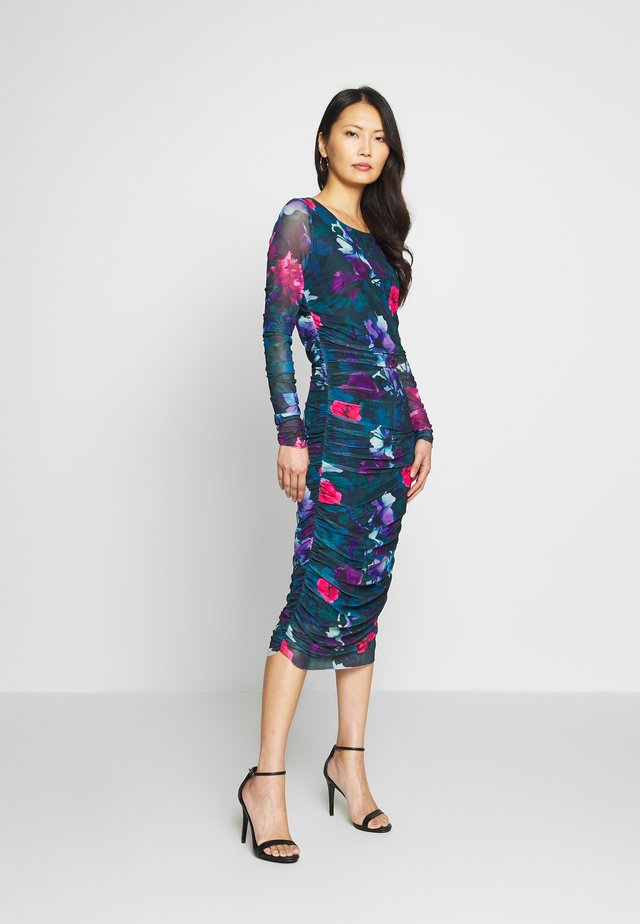 PRINTED DRESS - Jerseyjurk - petrol/multi-coloured