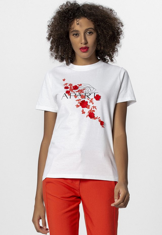 T-shirts print - white/orange