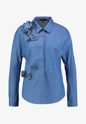 BLOUSE WITH FLOWERS - Chemisier - denim