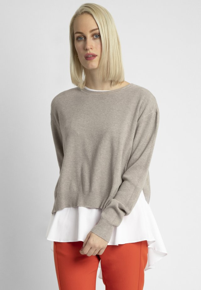2IN1 STRICKPULLOVER - Sweter - taupe