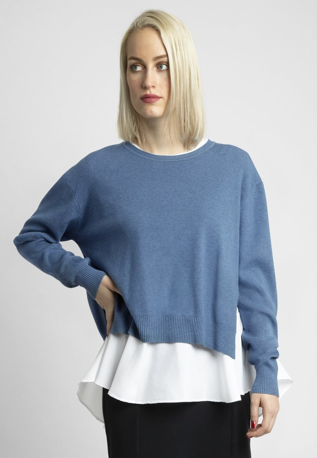 2IN1 STRICKPULLOVER - Sweter - jeans blue