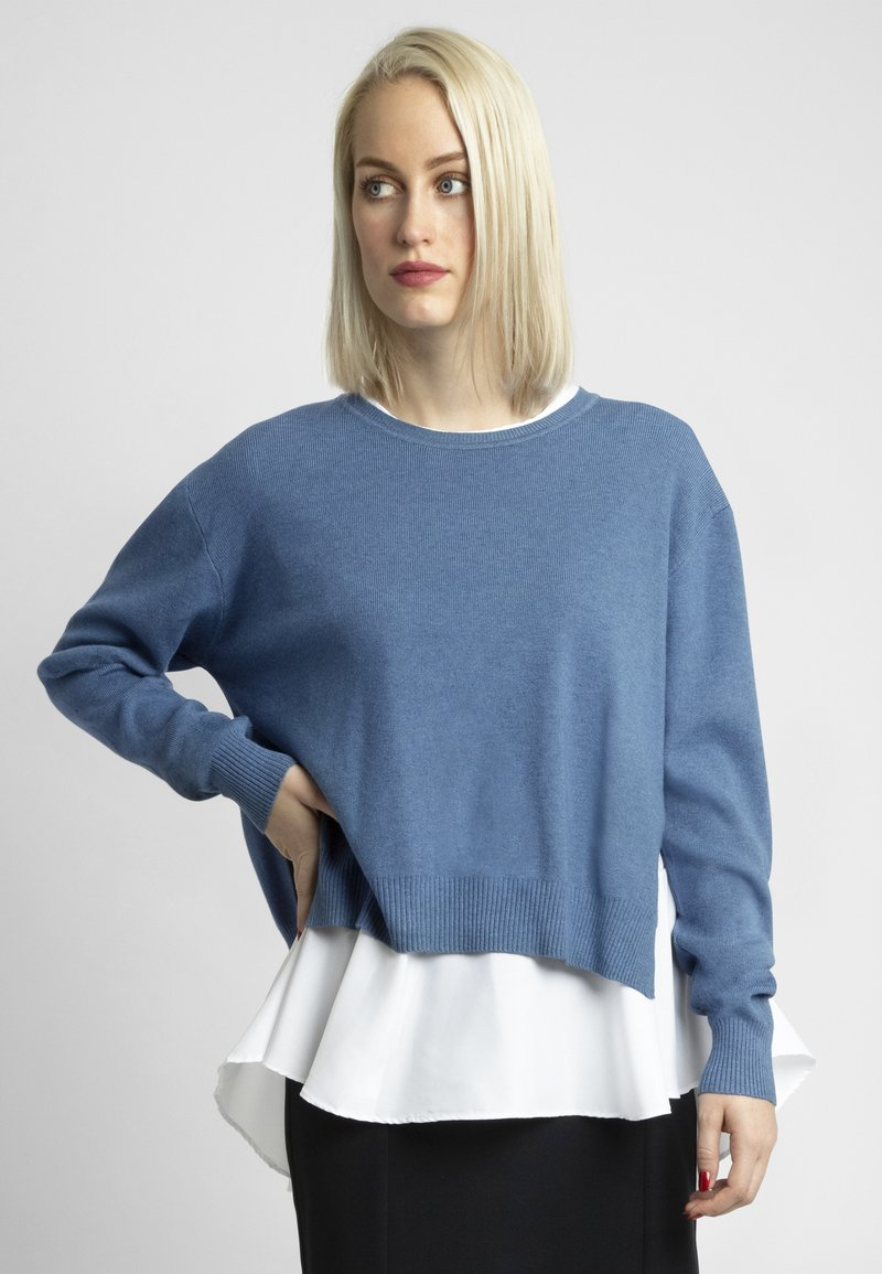 Apart - 2IN1 STRICKPULLOVER - Pullover - jeans blue