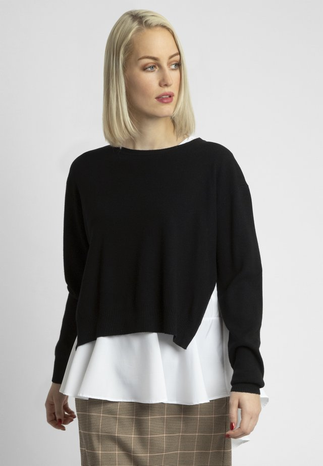 2IN1 STRICKPULLOVER - Sweter - black