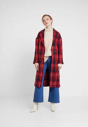 GLENCHECK COAT - Zimní kabát - red/midnightblue/cream