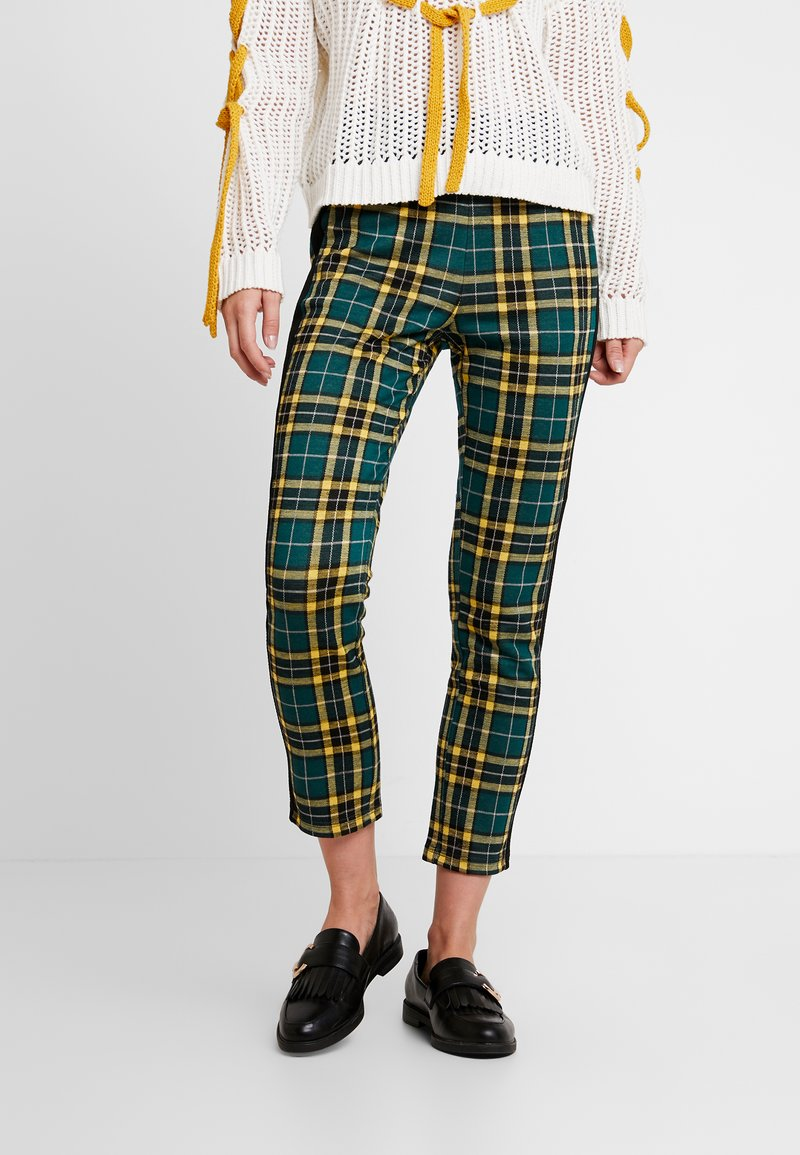 Benetton - ELASTIC WAIST CIGARETTE CHECK PANT - Pantaloni - green/yellow