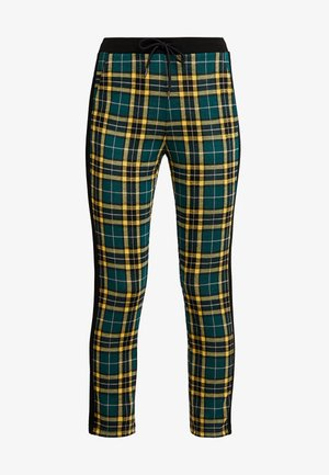ELASTIC WAIST CIGARETTE CHECK PANT - Trousers - green/yellow