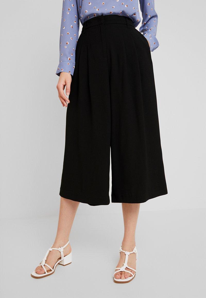Benetton - WIDE LEG CULOTTE - Kalhoty - black
