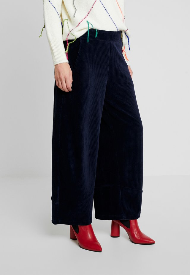 WIDE PANTS - Tygbyxor - navy