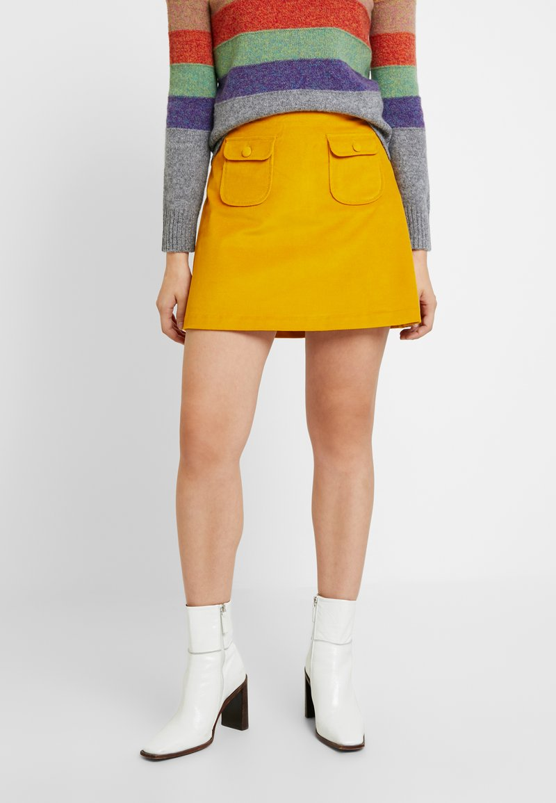Benetton - ALINE MINI SKIRT - Áčková sukně - yellow