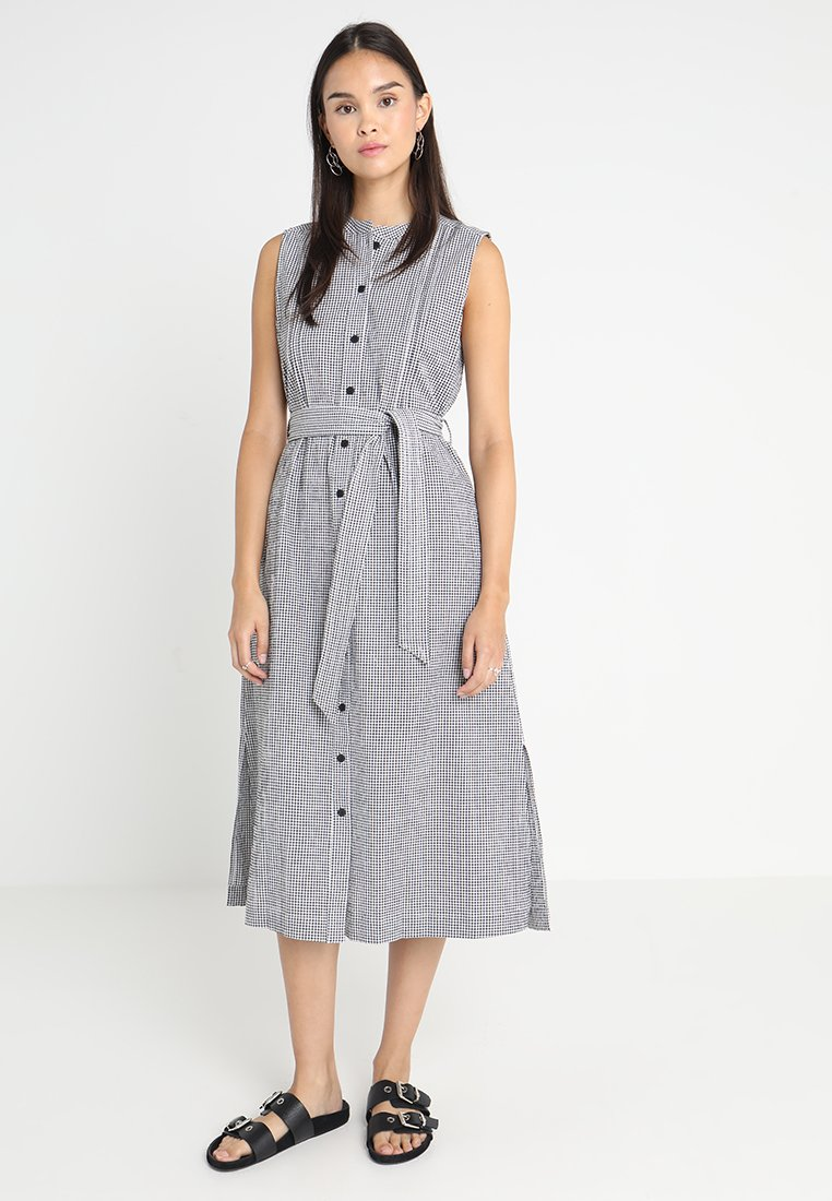 Benetton - BUTTON DOWN MIDI DRESS SMALL GINGHAM PRINT - Skjortekjole - navy