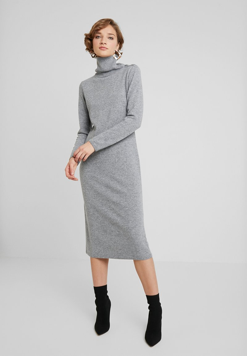 Benetton - TURTLE NECK DRESS - Vestido de punto - grey