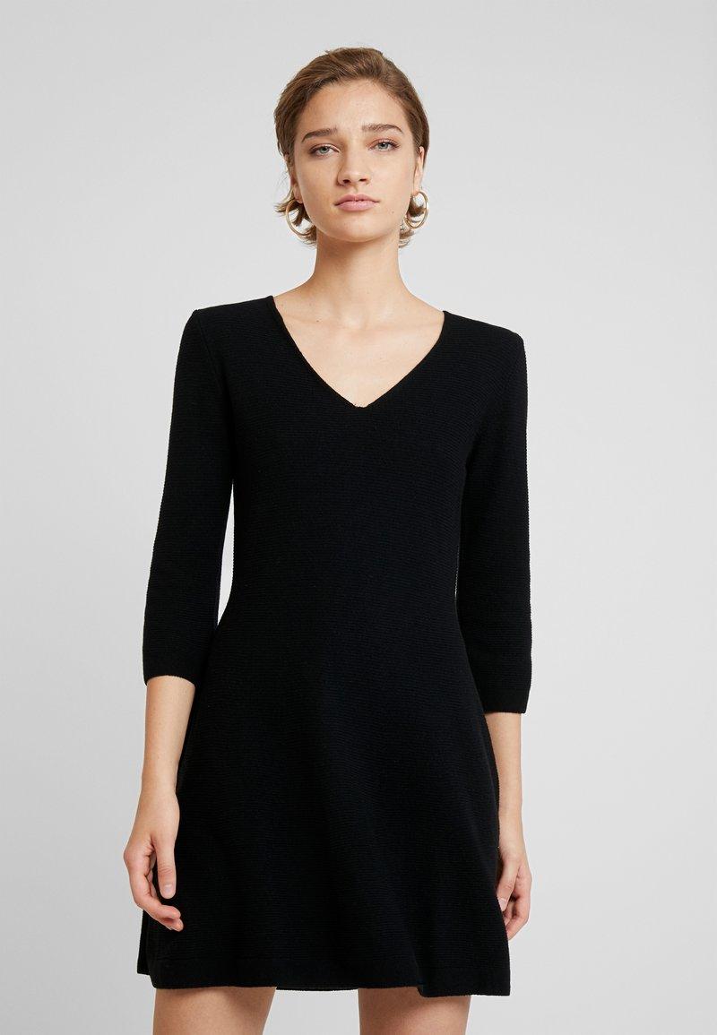 Benetton - VNECK SKATER DRESS - Jumper dress - black